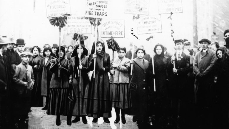 Mourners picket after the Triangle Fire